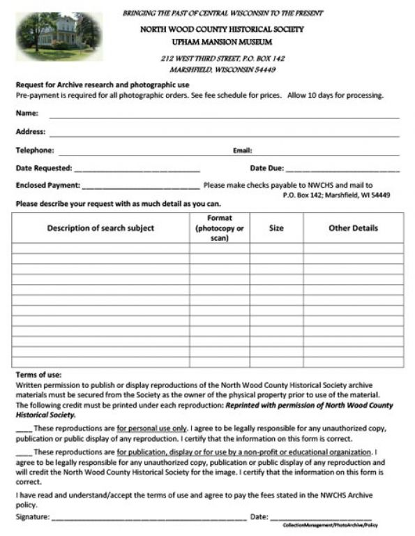 Reproduction Request Form